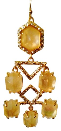 Alexis Bittar NWOT Champagne Quarts & MOP Faceted With Crystal Gold Chandelier Earrings Image 1