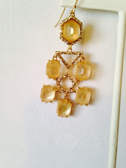 Alexis Bittar NWOT Champagne Quarts & MOP Faceted With Crystal Gold Chandelier Earrings Image 2