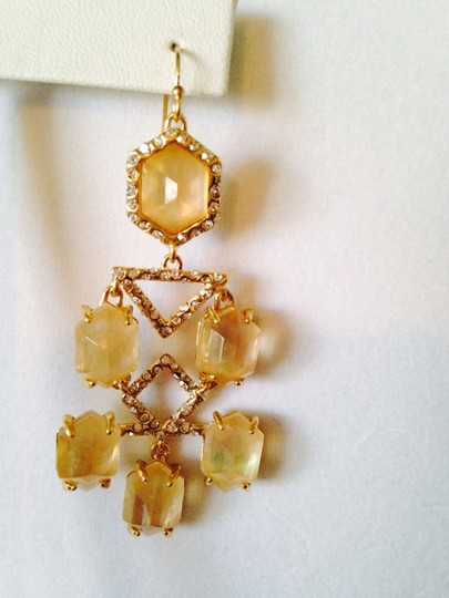 Alexis Bittar NWOT Champagne Quarts & MOP Faceted With Crystal Gold Chandelier Earrings Image 3
