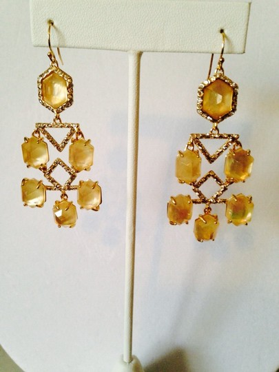 Alexis Bittar NWOT Champagne Quarts & MOP Faceted With Crystal Gold Chandelier Earrings Image 5