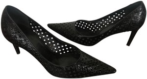 Bally Woven Woven Leather Classic Snakeskin Black Pumps