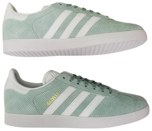 adidas Soft Vegan Leather Perforated Molded Logo Ortholite Soles Mint Green Athletic
