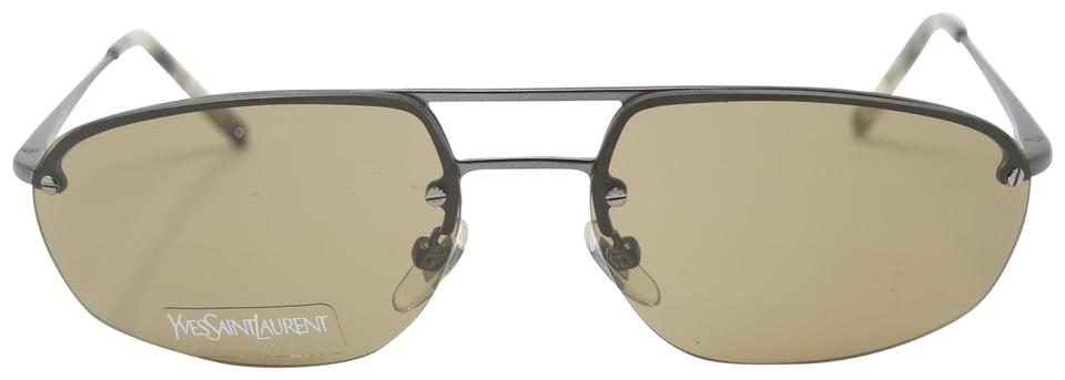 127f64b4f89 Saint Laurent Metal Signature Ysl Matte Semi- Rimless Brown Gradient Pilot  Sunglasses