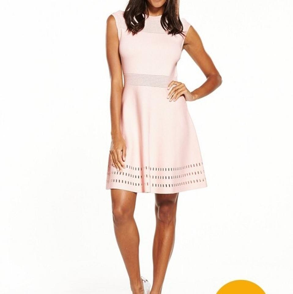 86ccdd53ae9ba Ted Baker Nude Pink Aurbray Knitted Skater Cocktail Dress Size 10 (M ...