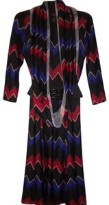 Signature by Robbie Bee 3/4 Sleeve Belted Matching Scarf Lined Career Dress
