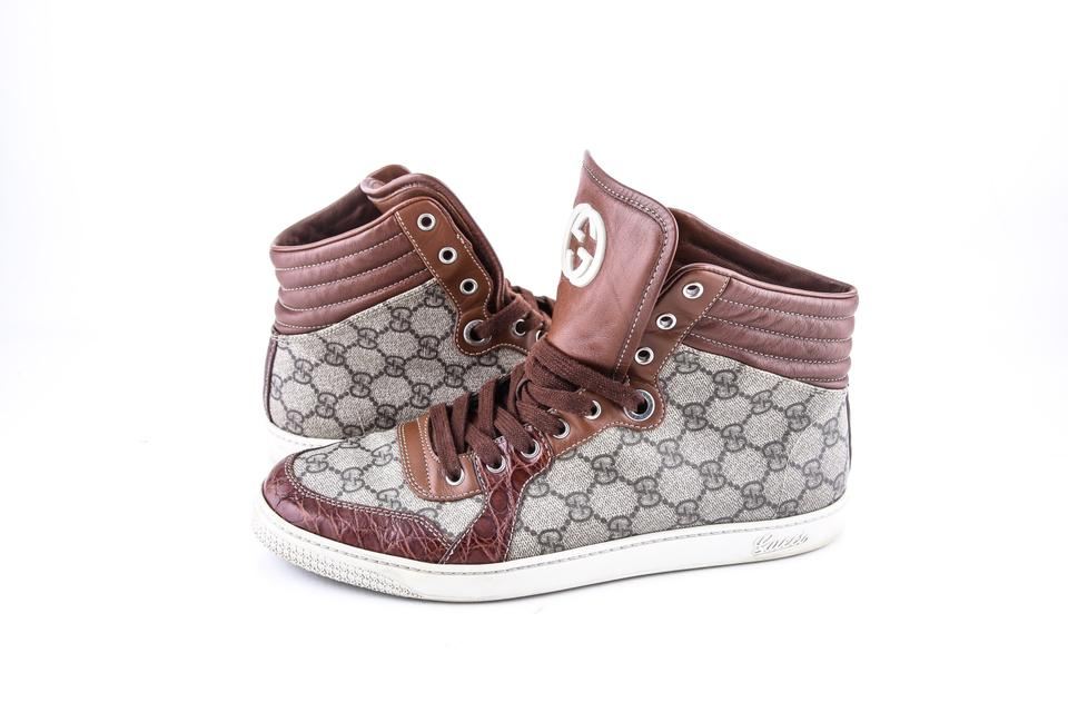 279a0d97ad9 Gucci   Brown Plus High-top W Crocodile Trim Sneakers Shoes Image 0 ...