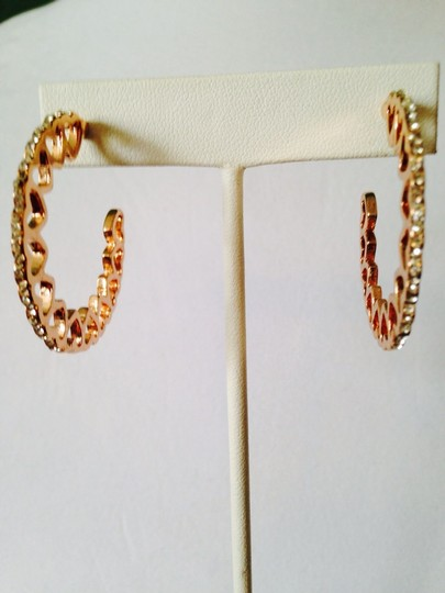 Other Gold Heart & Cubic Zirconia Large Hoop Earrings Image 1