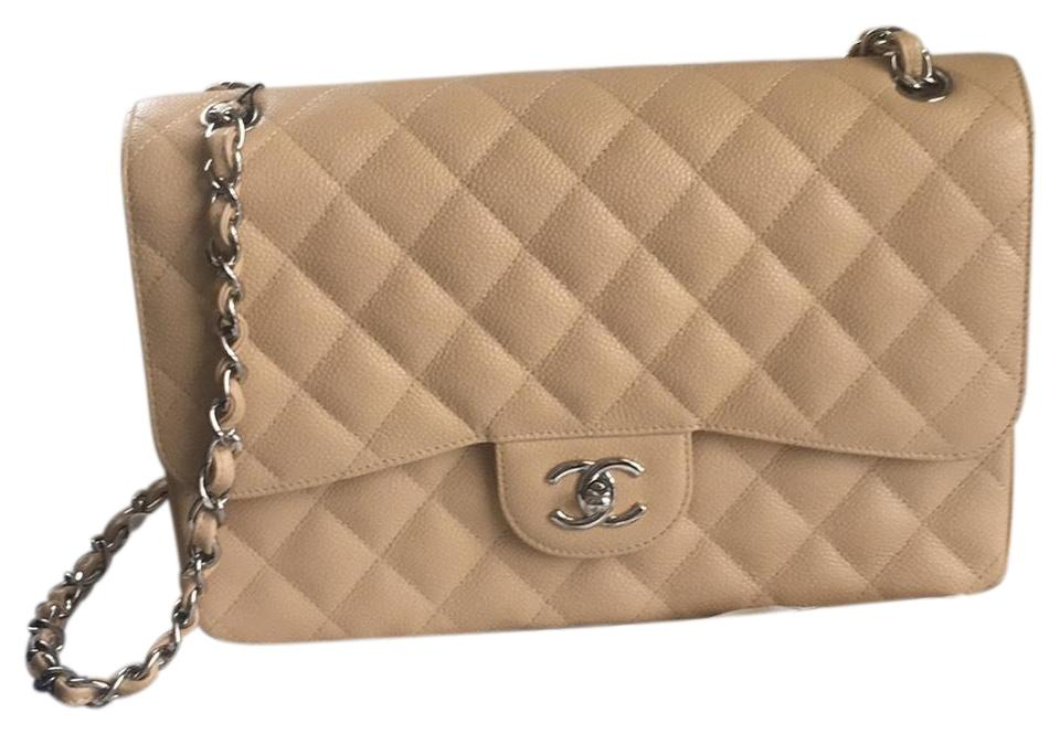75710e37a06087 Chanel Classic Flap Classic Jumbo Nude Beige Caviar Leathers Shoulder Bag