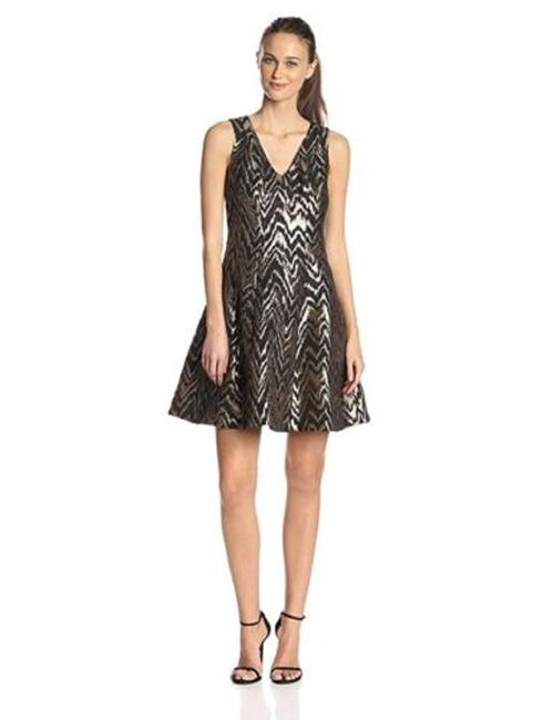 Item - Black/Copper Metallic Chevron Jacquard Fit-and Flare Short Cocktail Dress Size 8 (M)
