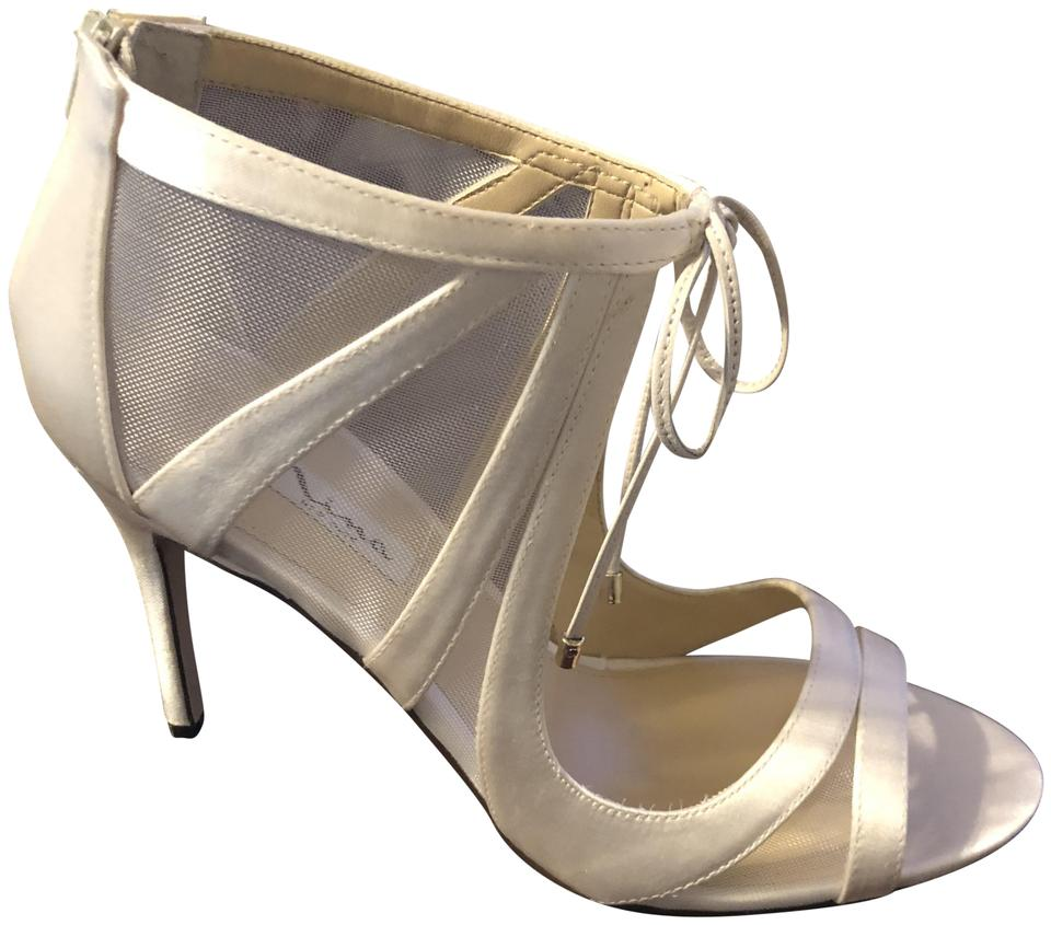 6b80c5c19f9f82 Nina Beige Cherie Strappy Mesh Tie Peep Toe Dress Sandals Ivory Pumps