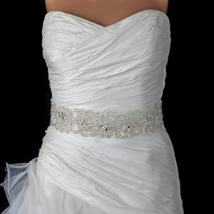 Elegance By Carbonneau Sheer Organza Rhinestone Wedding Dress Belt
