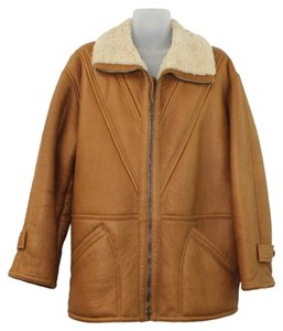 Gucci Vintage Shearling Lined Camel BROWN Leather Jacket
