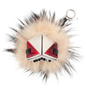 Fendi Prism Triangle Monster Silver Fox-Fur Purse Charm, White Multi
