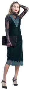 green Maxi Dress by Zara Velvet Lace Maxi Sleeveless Lace Trim