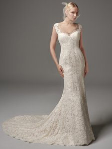 Sottero and Midgley Ivory Over Light Gold Shimmering Lace Malone Modern Wedding Dress Size 12 (L)