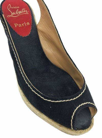 Christian Louboutin Espadrille Black Wedges