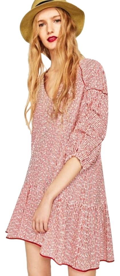 8795bced996 Zara Red White Striped Embroidered Short Casual Dress Size 4 (S ...