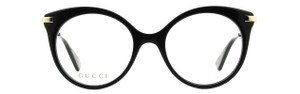 Gucci NEW Gucci GG0109O Black Oversized Round Gold Metal Japan Eyeglasses