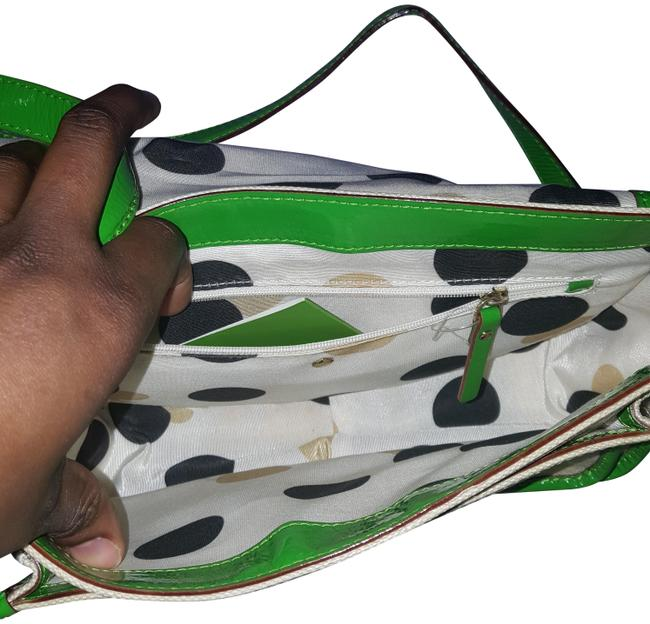 Item - Coated Canvas Green and Cream Leather Shoulder Bag