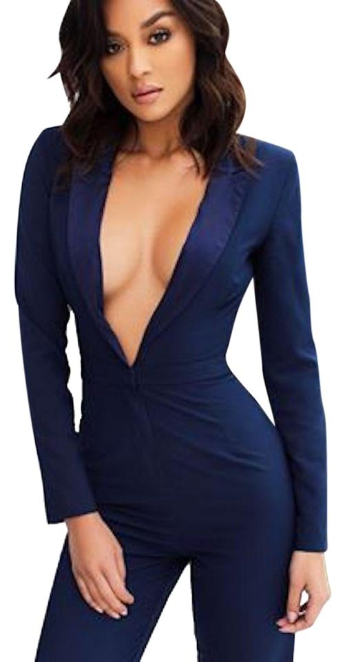 ad86f4cde7cc House of CB Navy  belen  Fitted Tuxedo New Romper Jumpsuit - Tradesy