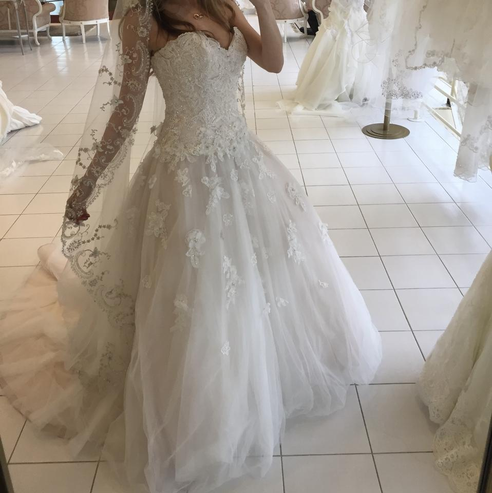Blush and Ivory Toule Ball Gown Modern Wedding Dress Size 6 (S ...
