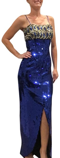 Alyce Paris Blue and Gold Sequin Maxi Dress/Formal Sequin Beaded Dress/ Silk Long Formal Dress Size 8 (M) Alyce Paris Blue and Gold Sequin Maxi Dress/Formal Sequin Beaded Dress/ Silk Long Formal Dress Size 8 (M) Image 1