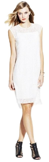 Item - White Sexy Herringbone Burnout Mid-length Night Out Dress Size 6 (S)