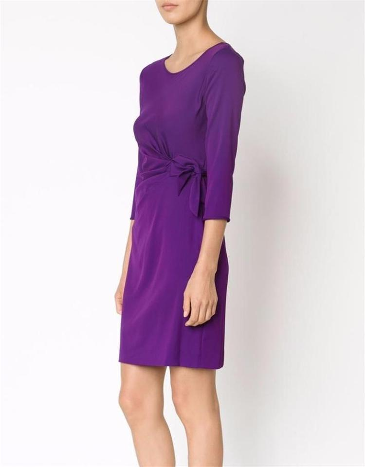 Diane Von Furstenberg Royal Purple Dvf Zoe 3 4 Sleeve Silk Georgette Waist Tie Work Office Dress