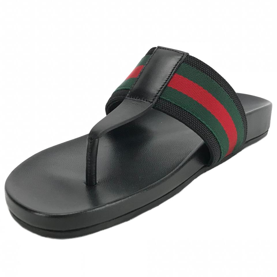 854b500472d Gucci Black 386768 Men s Web Strap Thong G9.5   10us Sandals Size US ...