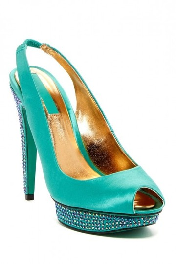 BCBGMAXAZRIA Turquoise Falcon Tide Crystal Embellished Pumps Size US 7.5