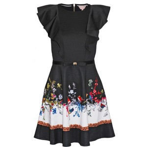 Ted Baker short dress Black Shaelin Opulent Fauna Ruffle on Tradesy