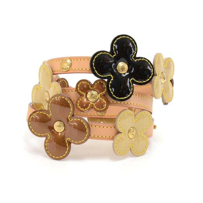 Louis Vuitton Brown Flower Motif In Multicolor Vernis Leather X Cowhide Belt Louis Vuitton Brown Flower Motif In Multicolor Vernis Leather X Cowhide Belt Image 1