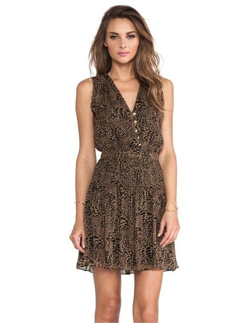 Item - Brown/Black Dvf Zaeta Silk Chiffon Pleated Animal Driftwood Short Night Out Dress Size 8 (M)