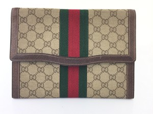 Gucci Beige and Brown GG Clutch