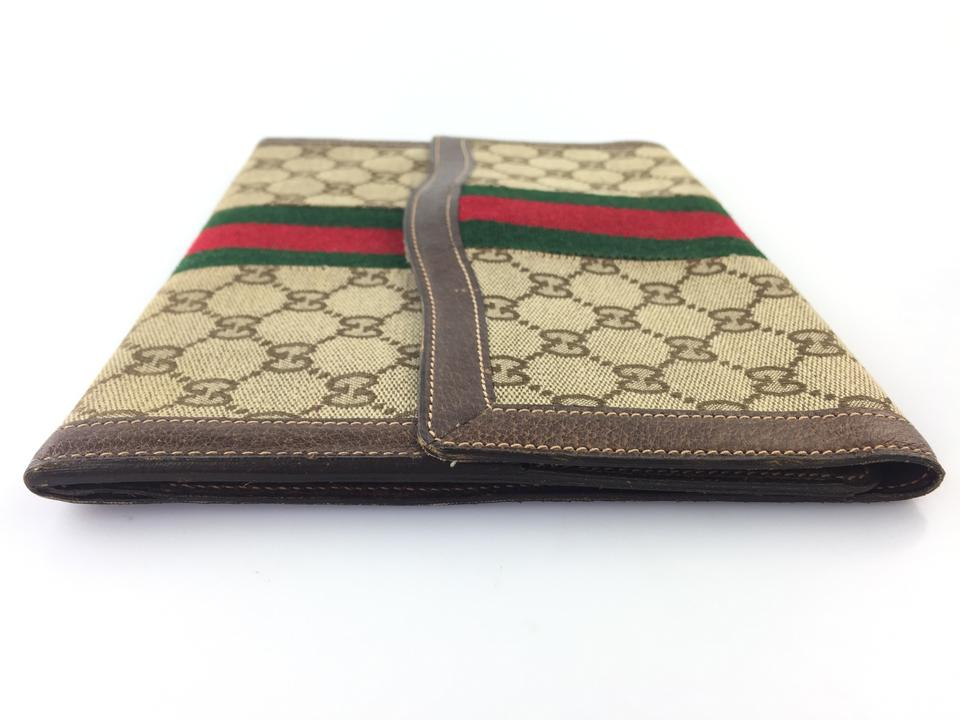 44700cf1b Gucci Small Flap Beige and Brown Gg Canvas Clutch - Tradesy