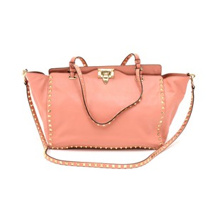Valentino Rockstud Calfskin Leather Tote in Pink
