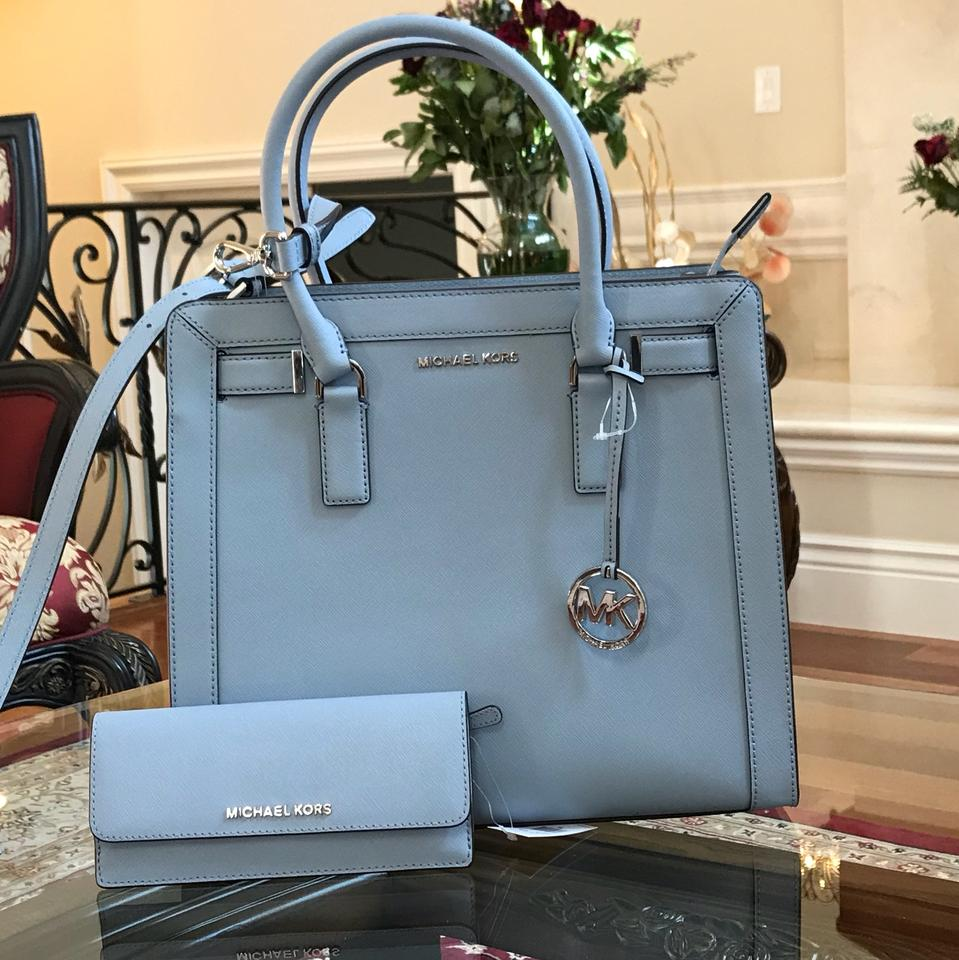 0b5b3d416c Michael Kors Leather Spring Mother s Day Next Day Shipping Tote in PALE  BLUE Image 0 ...