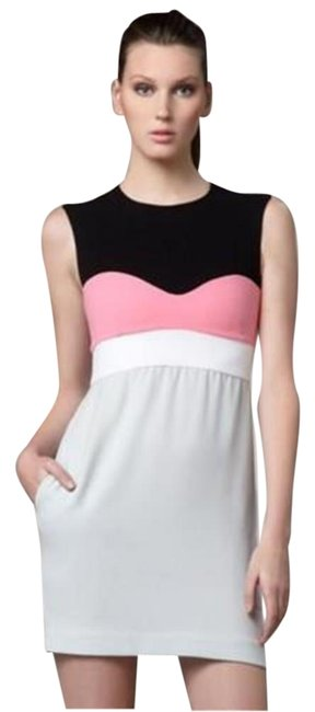 Item - Pink Grey Black White Dvf Tamika Colorblock Open Crepe Mid-length Night Out Dress Size 8 (M)