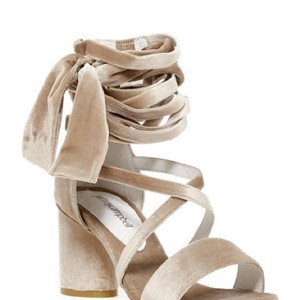 Jeffrey Campbell Strappy Velvet Summer Beige Sandals