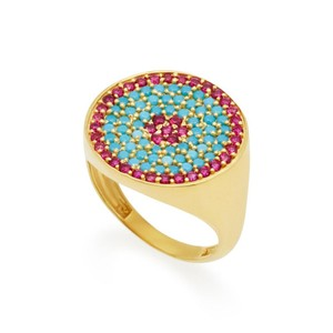 Jenny Lauren Jewelry Joanna Laura Constantine Women's Metallic Gold-plated, Ruby And Turquoise Pinky Ring