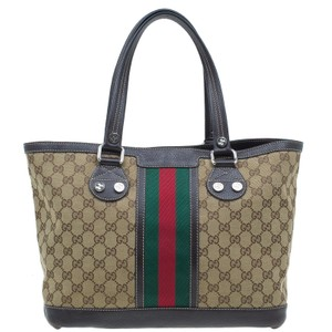 Gucci Vintage Web Sunset Monogram Canvas Tote in brown