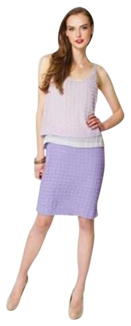 Item - Lavender/Lilac Dvf Bethan Silk Colorblock Chalk Freesia Mid-length Night Out Dress Size 4 (S)