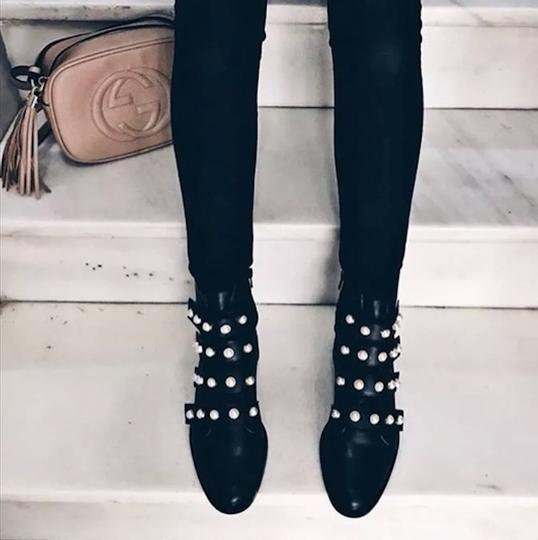Zara Black Combat Faux Pearl Strap Ankle Boots Booties
