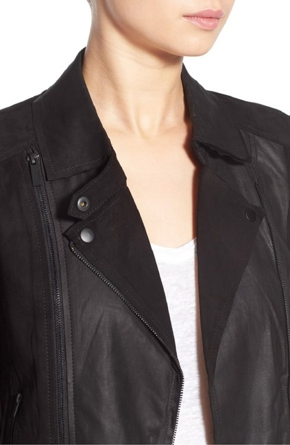 Paige Leather Suede Moto Cropped Motorcycle Jacket
