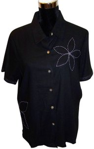 caeedd9bf2d8bc Susan Graver Embroidered Button Down Shirt Black White