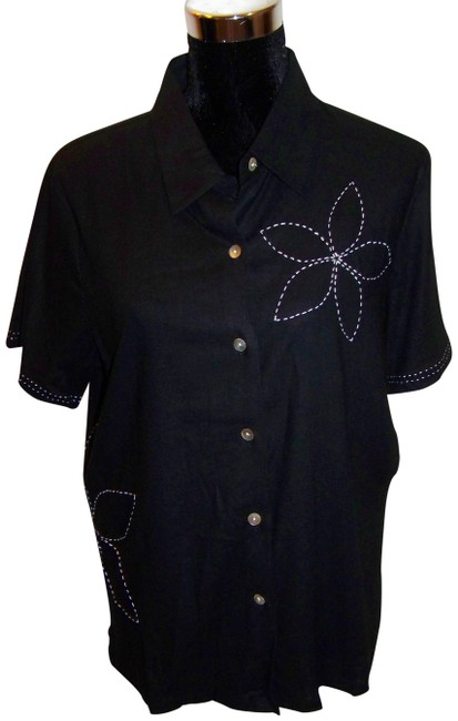 Susan Graver Embroidered Button Down Shirt Black/White