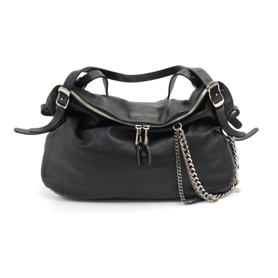 68434c960e70 Jimmy Choo Blake Biker Black Lambskin Leather Shoulder Bag - Tradesy
