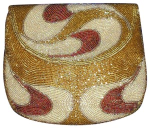 PurseN Evening After Five Party Formal Special Occasion Ivory/Gold/Plum Clutch