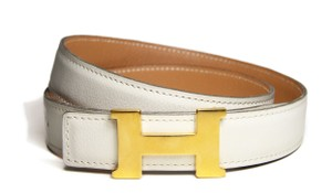 Hermès Hermes Reversible H Belt 70 in White and Light Brown