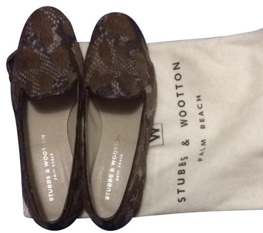 Preload https://item4.tradesy.com/images/stubbs-and-wootton-animal-print-black-and-beige-animal-hair-tan-flats-2293228-0-0.jpg?width=440&height=440